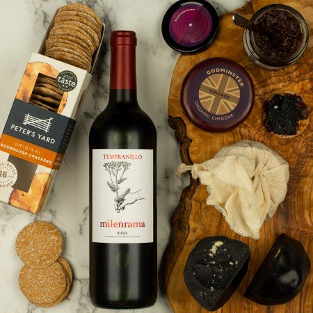 red wine and cheese box