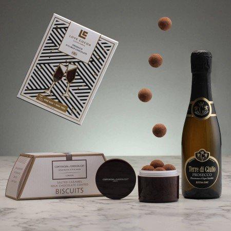 Mini prosecco and luxury chocolate hamper